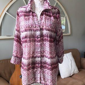 Vintage America size XL sheer patterned top